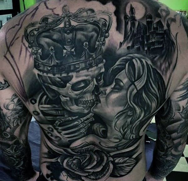 Mens Full Back Royal Skull And Lady Romance Tattoo