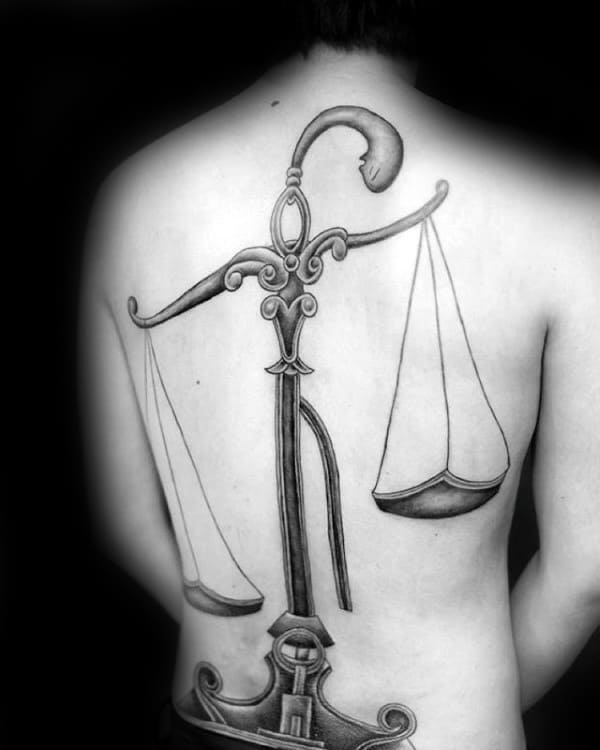 Mens Full Back Scale Libra Tattoos