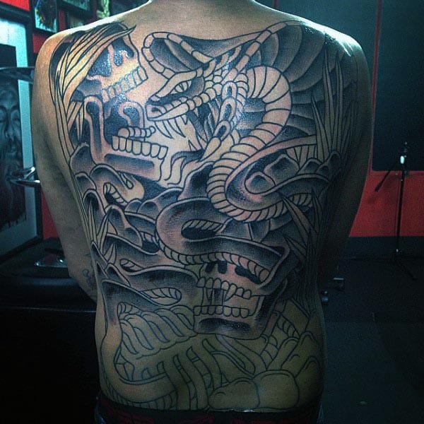 Mens Full Back Skeleton Cobra Old School Tattoo
