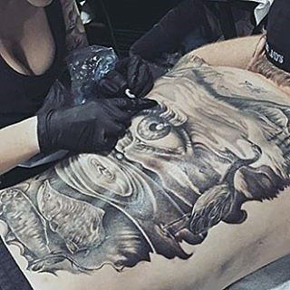Mens Full Back Tears Dripping From Eye On To Lake Tattoo