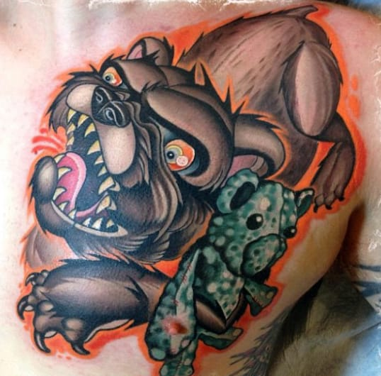 Mens Full Back Teddy Bear And Beast New School Tattoo