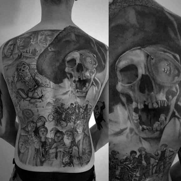 Mens Full Back The Goonies Themed Tattoos