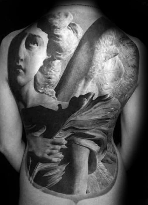 Mens Full Back Themed Angel Statue Tattoo Design Ideas