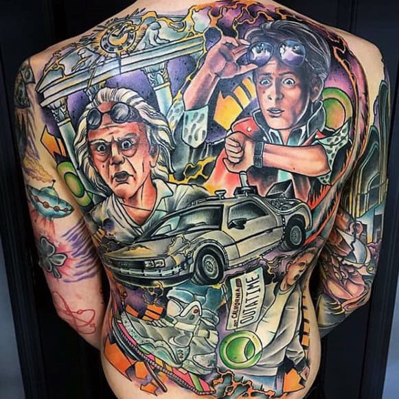 Mens Full Back To The Future Themed Back Tattoos