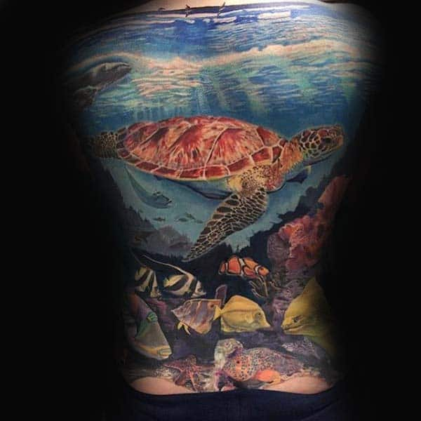 Mens Full Back Turtle Ocean Themed Tattoo Design With Swimming Fish