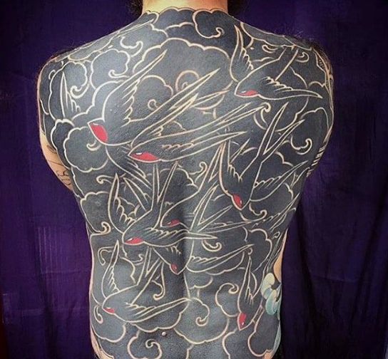Mens Full Back Unique Red Chinned Black Birds Tattoo