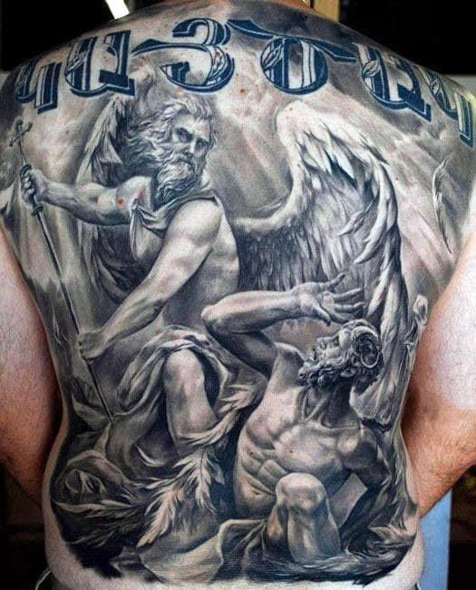 Mens Full Back Wonderful Guardian Angels Tattoo
