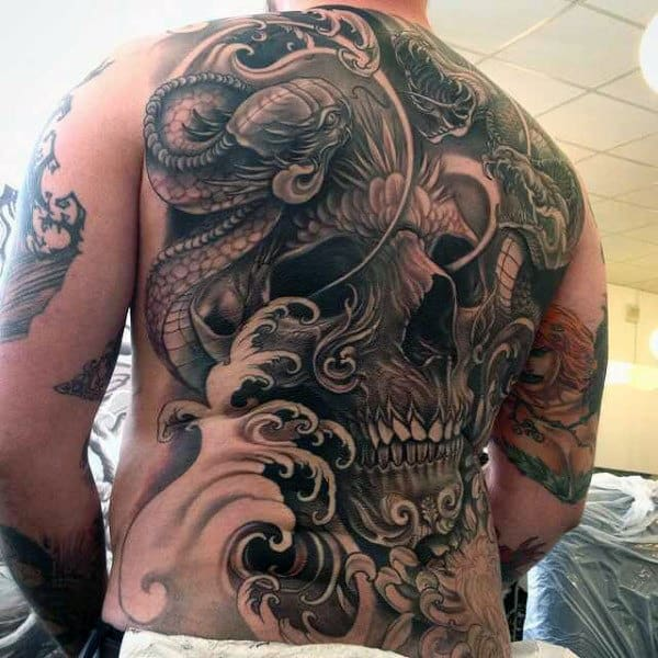 Mens Full Back Wonderfully Designed Grey Skull Tattoo