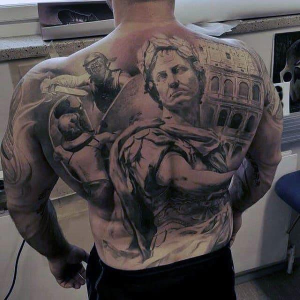 Mens Full Bak Warriors In Rome Realism Tattoo
