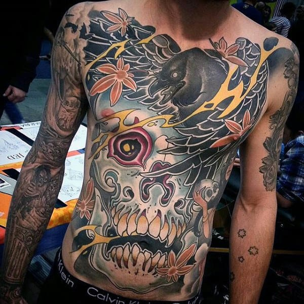 Mens Full Body Fantastic Colorful Tattoo
