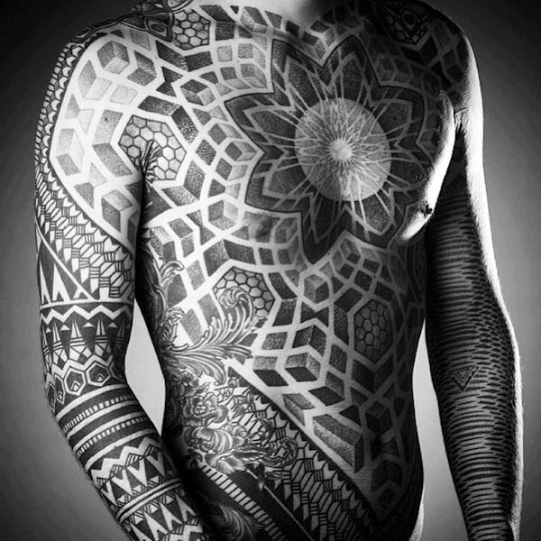 Mens Full Body Pointillism Tattoos