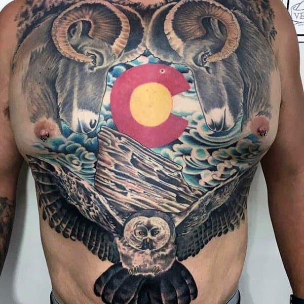 Mens Full Chest Colorado Rams Tattoo Design