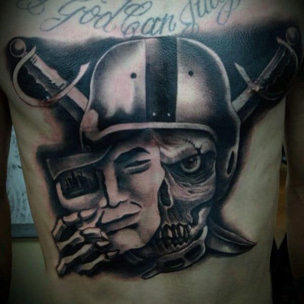 Mens Full Chest Skull Oakland Raiders Tattoos