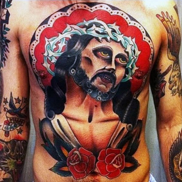 Mens Full Chest Traditional Jesus Themed Tattoo
