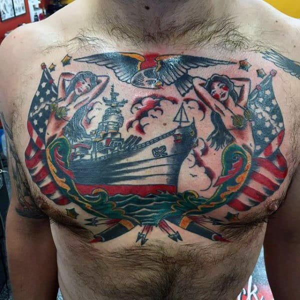 Mens Full Chest United States Navy Tatoto Designs