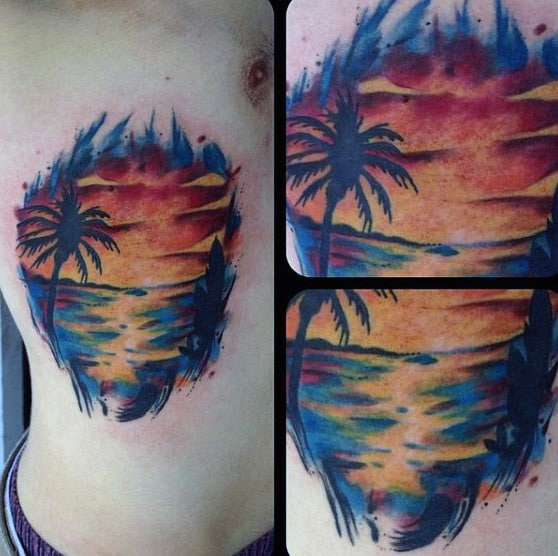 Mens Full Color Stylish Side Tattoo Of Ocean Sunset