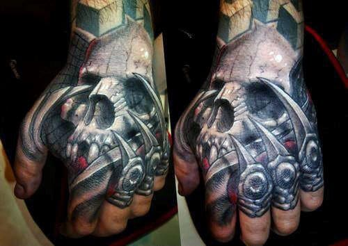 Mens Full Hand And Knuckle Tattoo Of Skull