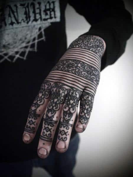 Mens Full Hand And Knuckles Tattoo In Black Line Work Style