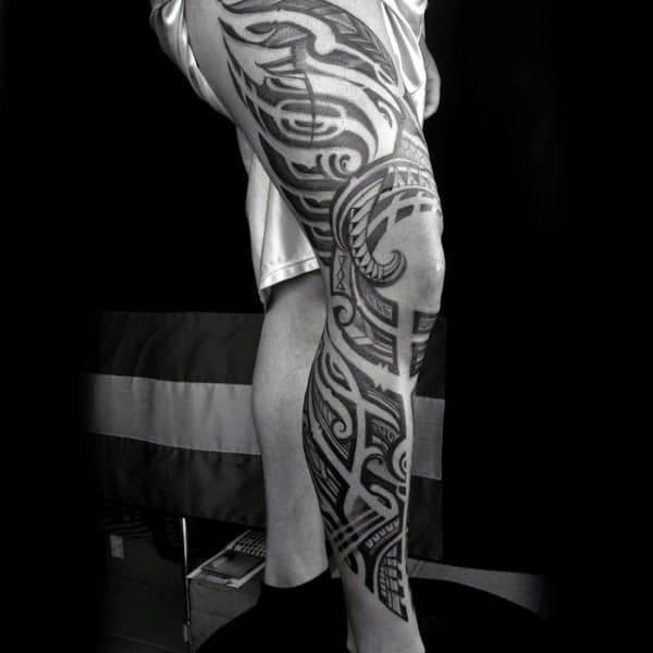 Mens Full Leg Awesome Tribal Sleeve Tattoo Design