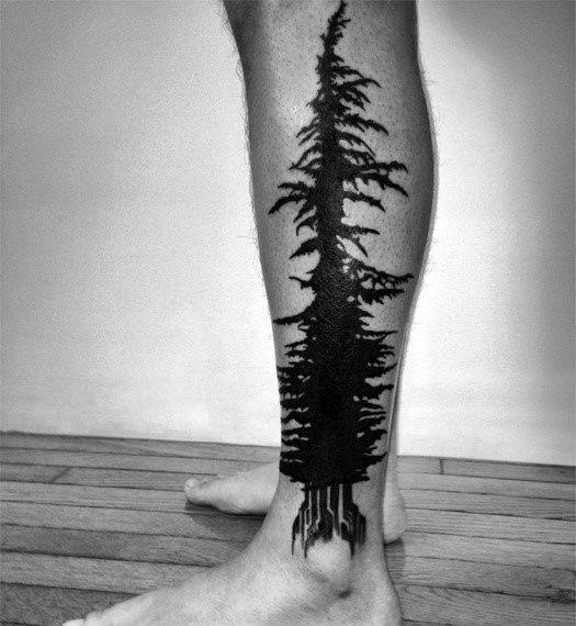 Men's Full Leg Pine Tree Design Ideas
