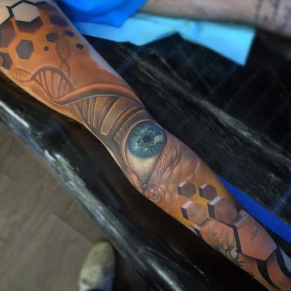 Mens Full Leg Sleeve Blue Eye With Dna Helix Strand Design