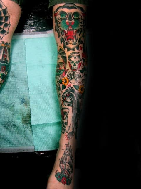Mens Full Leg Traditional Sleeve Tattoo Design Ideas