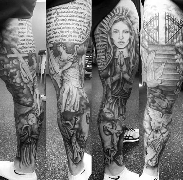 Mens Full Legs Guardian Angels And Gates To Heaven Tattoo