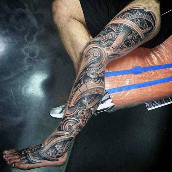 Mens Full Legs Realistic Grey Gears Tattoo