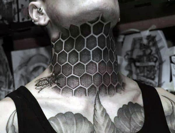 Mens Full Neck Bee And Honeycomb Tattoo
