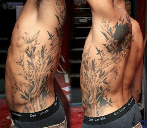 Mens Full Rib Cage Side Bamboo Tattoos