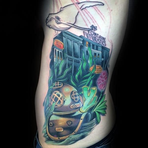 Mens Full Rib Cage Side Bioshock Tattoo