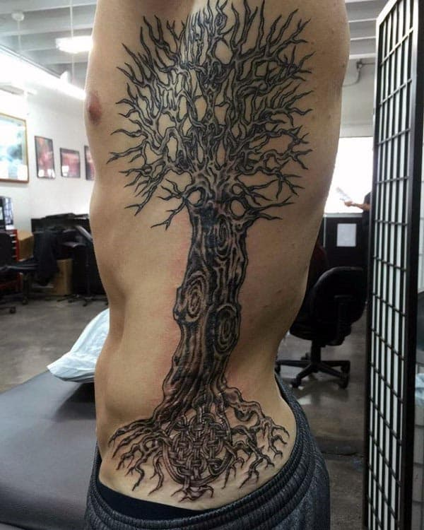 Mens Full Rib Cage Side Tree Of Life Tattoo