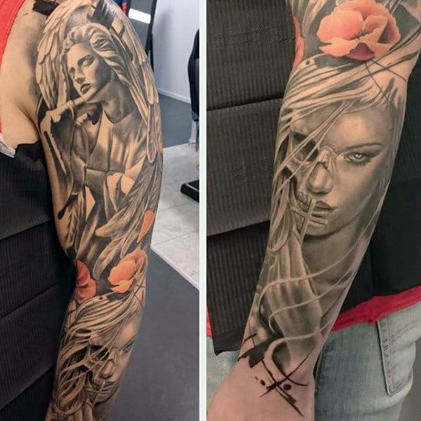 Mens Full Sleeeved Calm Guardian Angel And Half Skulled Woman Tattoo