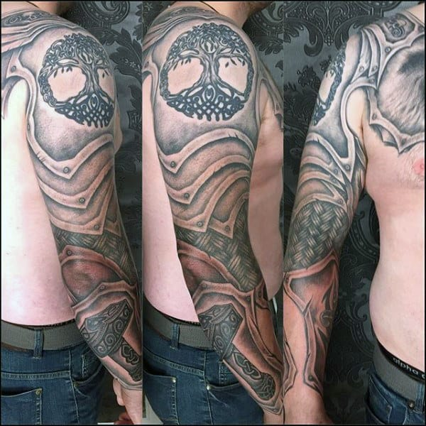 Mens Full Sleeve Armor Plate Mjolnir With Tree Of Life Tattoo