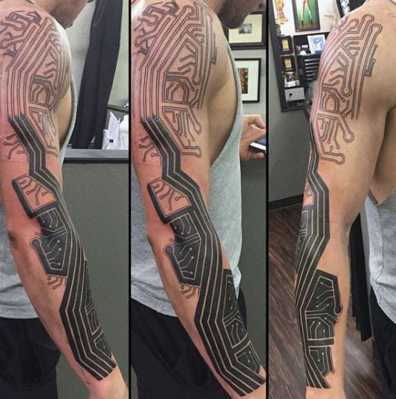 Mens Full Sleeve Circuit Board Tattoo Designs