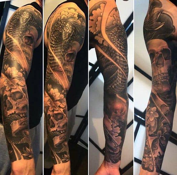 Mens Full Sleeve Cobra Skull Tattoos
