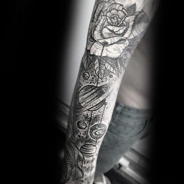 Mens Full Sleeve Dotwork Planets And Rose Tattoo