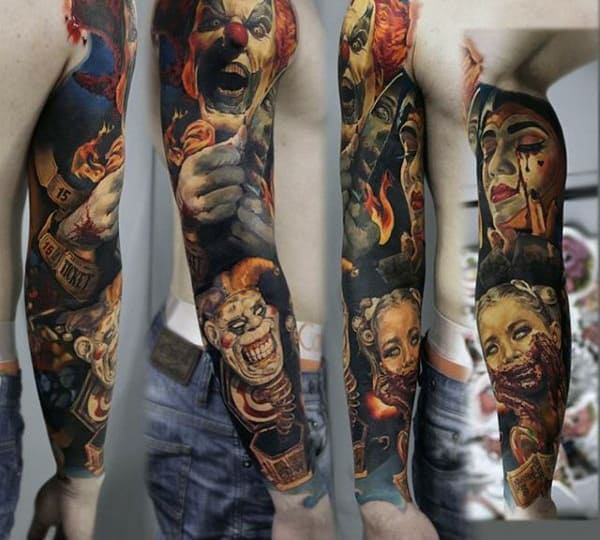 Mens Full Sleeve Evil Clowns Tattoos