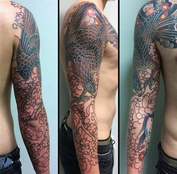 Mens Full Sleeve Falcon Tattoo Designs