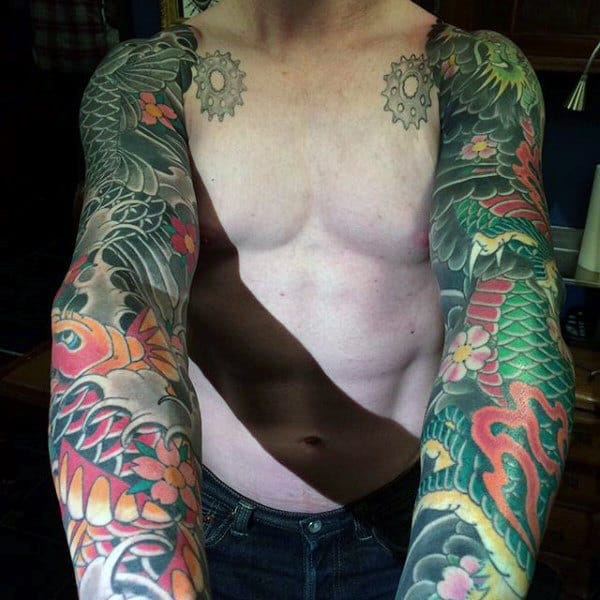 Mens Full Sleeve Flamboyant Dragon Tattoo