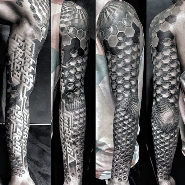 Mens Full Sleeve Geometric Hexagon Amazing Tattoo Ideas