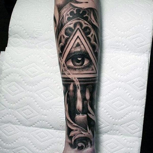 Mens Full Sleeve Gray Shaded Eye And Lit Candle Tattoo