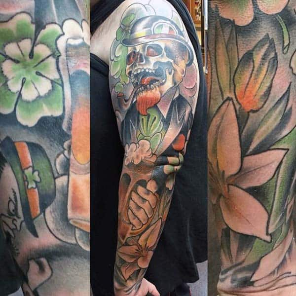 Mens Full Sleeve Irish Themed Tattoo Designs