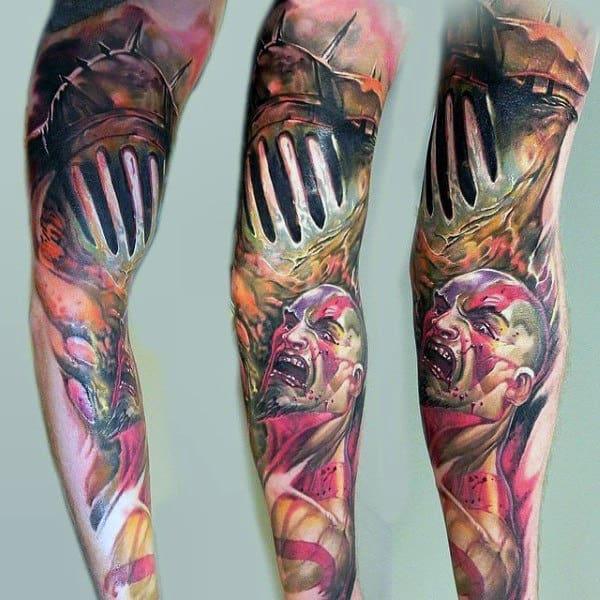 Mens Full Sleeve Kratos God Of War Tattoo Designs