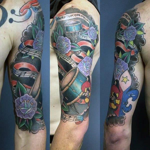 Mens Full Sleeve Old School Drum Tattoo Design Ideas