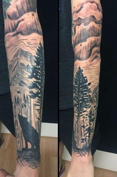 Men's Full Sleeve Pine Tree Tattoos