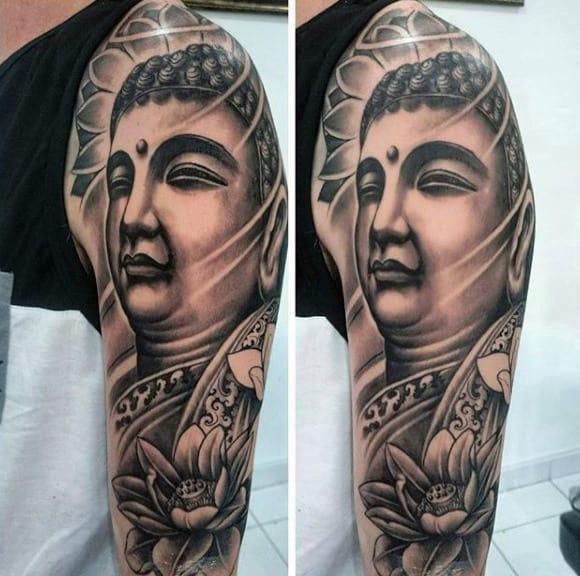 Mens Full Sleeve Serene Buddh And Lotus Tattoo