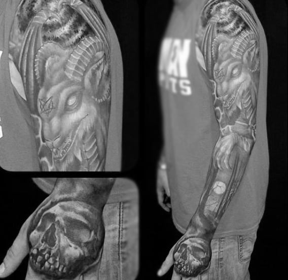 Mens Full Sleeve Skull Tattoo Designs