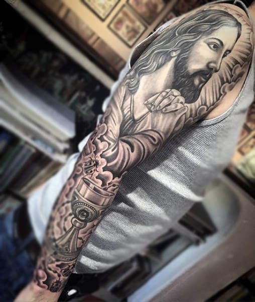 Mens Full Sleeve Tattoo Of Jesus With Holy Chalice