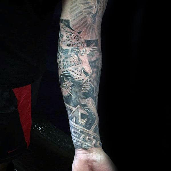 Mens Full Sleeve Tattoo Of Leopard